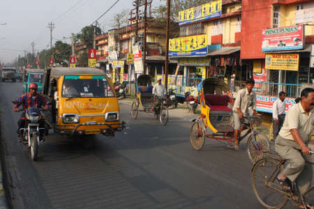 SILIGURI, INDIA - DECEMBER 4: Streets Siliguri - a transit point for air, road and rail traffic to Nepal, Bhutan, Bangladesh and Indian state Sikkim, on December 4, 2008 in Siliguri, India. Editorial