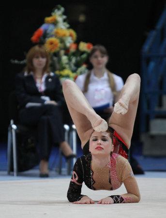 MOSCOW, RUSSIA - FEBRUARY 20: International Tournament in Rhythmic Gymnastics Grand Prix Cup champions Gazprom, February 20, 2010 in Moscow, Russia.