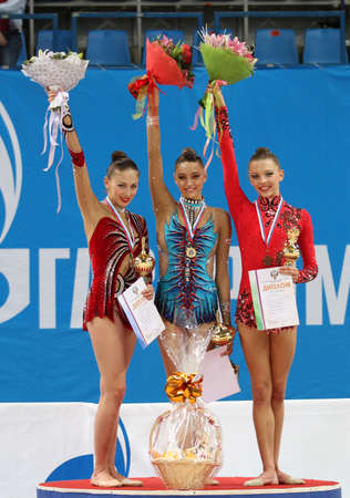 MOSCOW, RUSSIA - FEBRUARY 20: Awarding of winners of the International Tournament in Rhythmic Gymnastics Grand Prix Cup champions Gazprom, February 20, 2010 in Moscow, Russia.