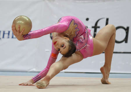 MOSCOW - FEBRUARY 20: An unidentified participant in action at International Tournament in Rhythmic Gymnastics Grand Prix Cup champions Gazprom February 20, 2010 in Moscow.