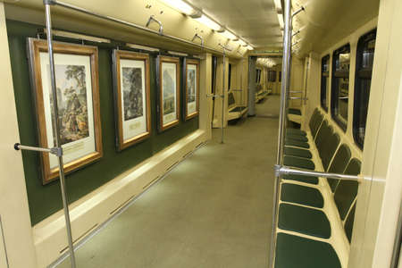 MOSCOW - MAY 12: Aquarelle subway train with a new collection of masterpieces by watercolor artists from the Russian Museum set out from Partizanskaya station, May 12, 2010 in Moscow, Russia.