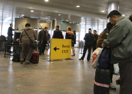 MOSCOW - APRIL 11: Sheremetyevo International Airport increases the number of canceled flights to Europe earlier in connection with the closure of airports in Europe, April 11, 2010 in Moscow, Russia. Stock Photo - 7193255