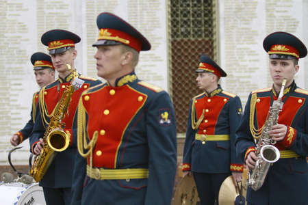 Military orchestra on ceremony of transfer of the symbolic Victory Banner of the delegation of the Republic of Kazakhstan in the Hall of Fame, April 21, 2010 in Moscow, Russia.