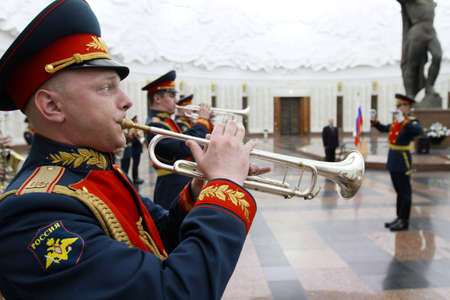 MOSCOW - APRIL 21: Military orchestra on ceremony of transfer of the symbolic Victory Banner of the delegation of the Republic of Kazakhstan in the Hall of Fame, April 21, 2010 in Moscow, Russia.