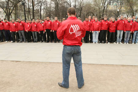 nationalists: MOSCOW - APRIL 20: Voluntary youth militia, the birthday of Adolf Hitler, anti-fascist conduct patrols in the field of possible provocations radical nationalists, April 20, 2010 in Moscow, Russia. Editorial