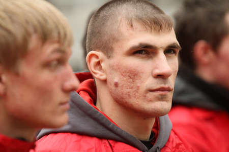 fascist: MOSCOW - APRIL 20: Voluntary youth militia, the birthday of Adolf Hitler, anti-fascist conduct patrols in the field of possible provocations radical nationalists, April 20, 2010 in Moscow, Russia. Editorial