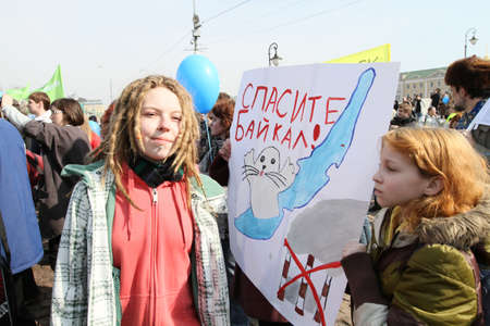 ecological problem: Greenpeace to demand rescission of a government decree, which allowed the Baikal pulp and paper mill waste to pour into a unique lake, March 28, 2010 in Moscow, Russia.