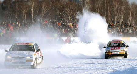 21st traditional RACE STARS ZA RULYOM on the ice road in Tushino (racing drivers: David Coulthard, Vitaly Petrov, Firdaus Kabirov), February 23, 2010 in Moscow, Russia.