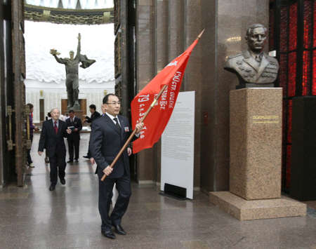 MOSCOW - APRIL 21: Ceremony of transfer of the symbolic Victory Banner of the delegation of the Republic of Kazakhstan in the Hall of Fame Museum of the Patriotic War, April 21, 2010 in Moscow, Russia