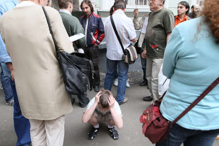 breaking up: MOSCOW - JUNE 10: People perturbed by the actions of the police in breaking up rallies, filed a complaint in the police department