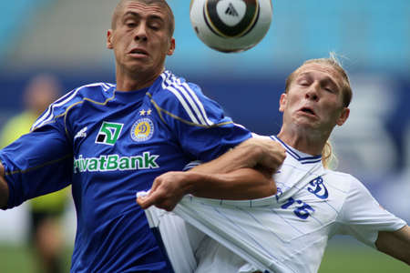 voronin: MOSCOW - JULY 3: Dynamo Kyivs defender Evgeniy Hacheridi (left) and Dynamo Moscow forward Andrei Voronin (right) in the VTB Lev Yashin Cup: FC Dynamo Moscow vs. FC Dynamo Kyiv (2:0), July 3, 2010 in Moscow, Russia.