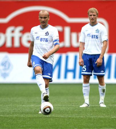 midfielder: MOSCOW - JULY 3: Dinamos midfielder Dmitry Hohlov (left) in the VTB Lev Yashin Cup: FC Dynamo Moscow vs. FC Dynamo Kyiv (2:0), July 3, 2010 in Moscow, Russia.