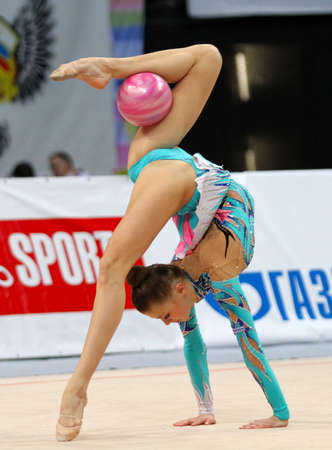 MOSCOW - FEBRUARY 20: An unidentified participant in action at International Tournament in Rhythmic Gymnastics Grand Prix Cup champions Gazprom, February 20, 2010 in Moscow, Russia.
