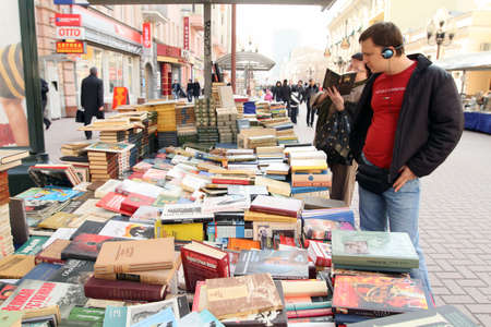 MOSCOW - APRIL 7: Reading City - sale of books in the center of Moscow on Arbat Street, April 7, 2010 in Moscow, Russia.