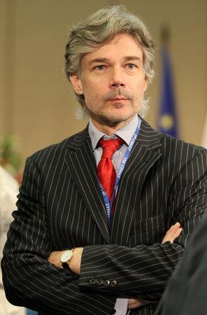 Dr. Harald Dossi, directeur-generaal voor coördinatie, Oostenrijkse federale, tijdens een 15 CEMAT-conferentie in Moskou (conferentie van ministers van ruimtelijke ordening van de Raad van Europa verantwoordelijk voor ruimtelijke  regionale planning), 8 juli 2010, Moskou, Rusland.