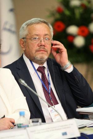 Vice-minister van regionale ontwikkeling van de Russische Federatie, voorzitter van de Commissie van de senior ambtenaren van CEMAT heer Sergey YURPALOV, tijdens een 15 CEMAT conferentie in Moskou, 8 juli 2010, Moskou, Rusland. Stockfoto - 7374291