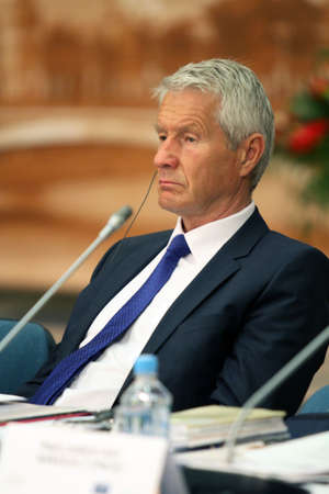 Thorbjørn Jagland, Secretary-General of the Council of Europe, during a 15 CEMAT conference in Moscow (Council of Europe conference of ministers responsible for spatialregional planning), 8th July 2010, Moscow, Russia. Redactioneel