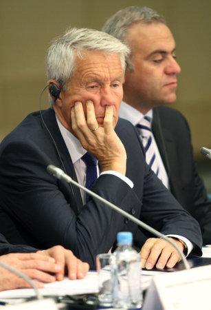 Thorbj�¸rn Jagland, secretaris-generaal van de Raad van Europa, tijdens een 15 CEMAT-conferentie in Moskou (conferentie van ministers van ruimtelijke ordening van de Raad van Europa verantwoordelijk voor ruimtelijke  regionale planning), 8 juli 2010, Moskou, Rusland.