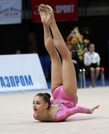 MOSCOW - FEBRUARY 20: An unidentified participant in action at International Tournament in Rhythmic Gymnastics Grand Prix Cup champions Gazprom, February 20, 2010 in Moscow, Russia. Stock Photo - 7438772