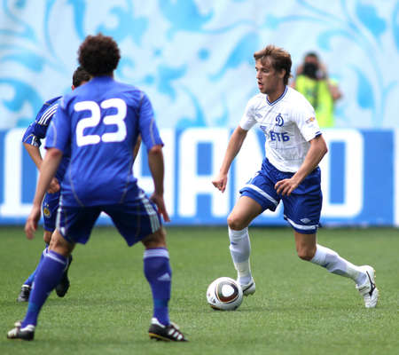 MOSCOW - JULY 3: Dynamo Moscows midfielder Dmitry Kombarov (right) in the VTB Lev Yashin Cup: FC Dynamo Moscow vs. FC Dynamo Kyiv (2:0), July 3, 2010 in Moscow, Russia.