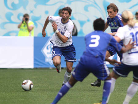 midfielder: MOSCOW - JULY 3: Dynamo Moscows midfielder Adrian Ropotan (left) in the VTB Lev Yashin Cup: FC Dynamo Moscow vs. FC Dynamo Kyiv (2:0), July 3, 2010 in Moscow, Russia.