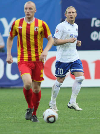MOSCOW - MAY 15: Dinamos forward Andrei Voronin (R) in a game of the 11th round of Russian Football Premier League - Dinamo Moscow vs. Alania Vladikavkaz - 2:0, May 15, 2010 in Moscow, Russia.