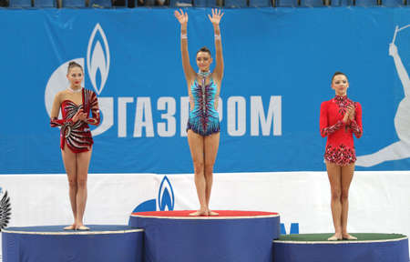 awarding: MOSCOW, RUSSIA - FEBRUARY 20: Awarding of winners of the International Tournament in Rhythmic Gymnastics Grand Prix Cup champions Gazprom, February 20, 2010 in Moscow, Russia.
