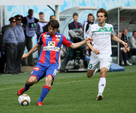 alan: MOSCOW - MAY 10: CSKA�s Alan Dzagoev (L) in action during their team�s Russian football championship game CSKA (Moscow) vs. Terek (Grozny) - (4:1), May 10, 2010 in Moscow, Russia. Editorial