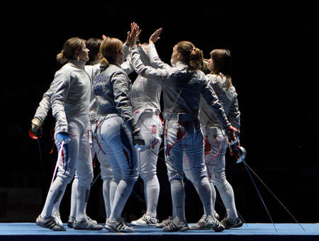 MOSCOW, RUSSIA - FEBRUARY 16: Women's national teams of France and Russia compete at the 2010 RFF Moscow Saber World Fencing Tournament, February 16, 2010 in Moscow, Russia. Stock Photo - 7738902