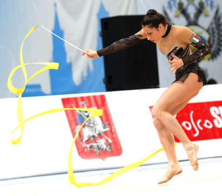 An unidentified participant in action at International Tournament in Rhythmic Gymnastics Grand Prix Cup champions Gazprom, February 20, 2010 in Moscow, Russia.