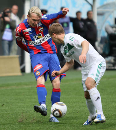 CSKAs Milos Krasic (L) in action during their teams Russian football championship game CSKA (Moscow) vs. Terek (Grozny) - (4:1), May 10, 2010 in Moscow, Russia.