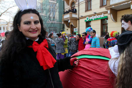 People celebrated April Fools Day on the main streets of the city, April 1, 2011 in Odessa, Ukraine.