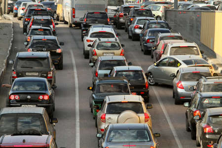 Traffic jams in the city center during at rush hour on April 28, 2010 in Moscow, Russia.  Stock Photo - 9433461