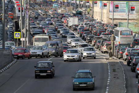 Traffic jams in the city center during at rush hour on April 28, 2010 in Moscow, Russia.