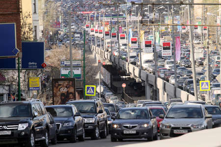 gridlock: Traffic jams in the city center during at rush hour on April 28, 2010 in Moscow, Russia.  Editorial
