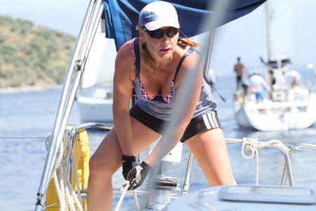 mediteranean: MEDITERRANEAN SEA, TURKEY - OCTOBER 3: Sailor participates in sailing regatta Sail & Fun Trophy 2011, October 3, 2011 in the Mediterranean Sea, Turkey. Editorial