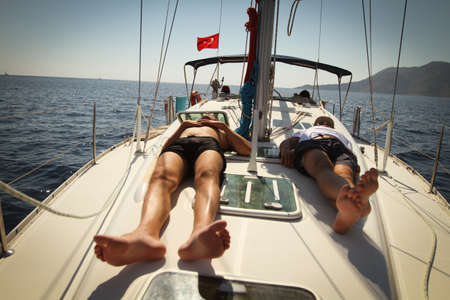 mediteranean: MEDITERRANEAN SEA, TURKEY - OCTOBER 3: Sailors participate in sailing regatta Sail & Fun Trophy 2011, October 3, 2011 in the Mediterranean Sea, Turkey.