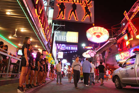 PATTAYA, THAILAND - NOVEMBER 27: Nightlife on Walking Street, commonly known as a place that offers plenty of sexual entertainment, mainly for men, November 27, 2011 in Pattaya, Thailand. Editorial