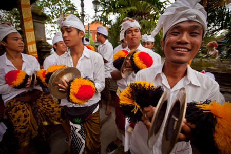 Melasti Ritual is performed before Nyepi - a Balinese Day of Silence that is commemorated every year (in 2012, it is on March 23rd) on March 18, 2012 in Ubud, Bali, Indonesia. Stock Photo - 12689967