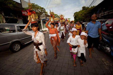 Melasti Ritual is performed before Nyepi - a Balinese Day of Silence that is commemorated every year (in 2012, it is on March 23rd) on March 18, 2012 in Ubud, Bali, Indonesia.