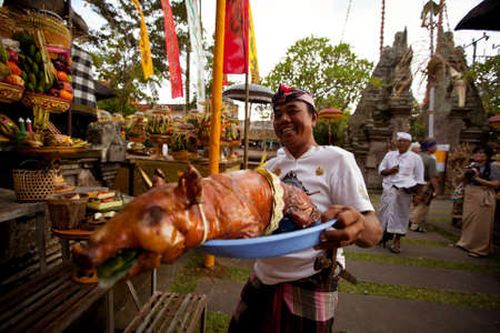 Ubud, Bali - March 18, 2012: People performing Melasti Ritual before Nyepi - a Balinese Day of Silence. Stock Photo - 12768736