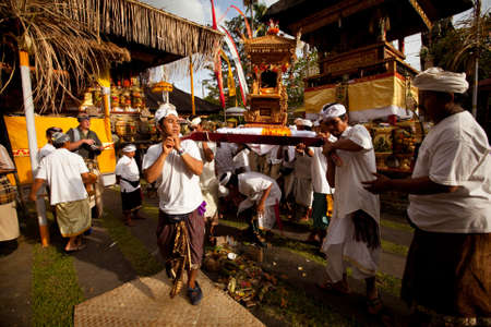 ritual: Ubud, Bali - March 18, 2012: People performing Melasti Ritual before Nyepi - a Balinese Day of Silence.