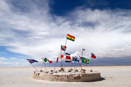 Flags at the Salar de Uyuni, Bolivia photo