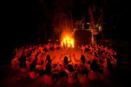 BALI, INDONESIA - APRIL 4: Presentation of traditional balinese Women Kecak Fire Dance show on April 4, 2012 on Bali, Indonesia. Kecak (also known as Ramayana Monkey Chant) is very popular cultural show on Bali.