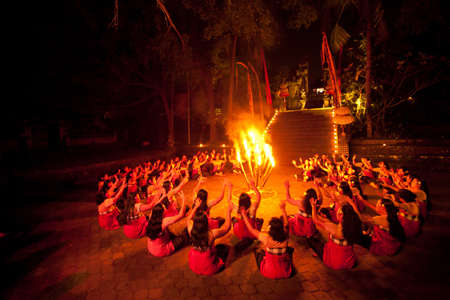 shamanism: BALI, INDONESIA - APRIL 4: Presentation of traditional balinese Women Kecak Fire Dance show on April 4, 2012 on Bali, Indonesia. Kecak (also known as Ramayana Monkey Chant) is very popular cultural show on Bali.