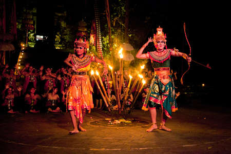 BALI, INDONESIA - APRIL 4: Presentation of traditional balinese Women Kecak Fire Dance show on April 4, 2012 on Bali, Indonesia. Kecak (also known as Ramayana Monkey Chant) is very popular cultural show on Bali. Stock Photo - 13062682