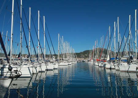navigational light: Parking for boats in the marina of the Mediterranean Sea