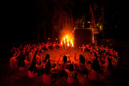 kecak: BALI, INDONESIA - APRIL 4: Presentation of traditional balinese Women Kecak Fire Dance show on April 4, 2012 on Bali, Indonesia. Kecak (also known as Ramayana Monkey Chant) is very popular cultural show on Bali.