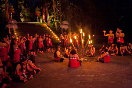 exorcism: BALI, INDONESIA - APRIL 4: Presentation of traditional balinese Women Kecak Fire Dance show on April 4, 2012 on Bali, Indonesia. Kecak (also known as Ramayana Monkey Chant) is very popular cultural show on Bali.