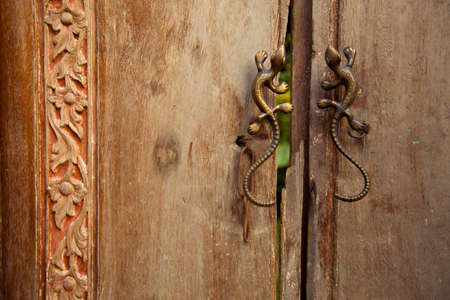 Old wooden doors with handles in the form of lizards Stock Photo - 13110975